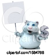 Clipart Of A 3d White Kitty Cat Holding A Dollar Sign On A White Background Royalty Free Vector Illustration