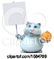 Clipart Of A 3d White Kitty Cat Holding An Orange On A White Background Royalty Free Vector Illustration