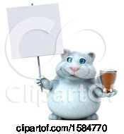 Clipart Of A 3d White Kitty Cat Holding A Beer On A White Background Royalty Free Vector Illustration