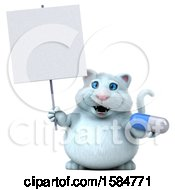 Clipart Of A 3d White Kitty Cat Holding A Pill On A White Background Royalty Free Vector Illustration