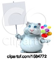 Clipart Of A 3d White Kitty Cat Holding Messages On A White Background Royalty Free Vector Illustration