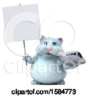 Clipart Of A 3d White Kitty Cat Holding A Plane On A White Background Royalty Free Vector Illustration