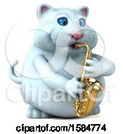 Clipart Of A 3d White Kitty Cat Playing A Saxophone On A White Background Royalty Free Illustration