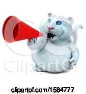 Clipart Of A 3d White Kitty Cat Holding A Megaphone On A White Background Royalty Free Illustration