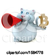 Clipart Of A 3d White Kitty Cat Holding A Bitcoin Symbol On A White Background Royalty Free Illustration