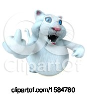 Clipart Of A 3d White Kitty Cat Holding Up A Middle Finger On A White Background Royalty Free Illustration