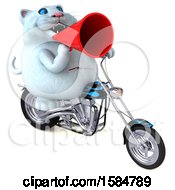 Clipart Of A 3d White Kitty Cat Riding A Chopper Motorcycle On A White Background Royalty Free Illustration