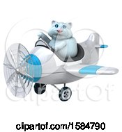 Clipart Of A 3d White Kitty Cat Flying A Plane On A White Background Royalty Free Illustration