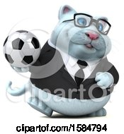 Clipart Of A 3d White Business Kitty Cat Holding A Soccer Ball On A White Background Royalty Free Illustration