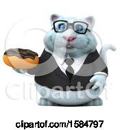 Clipart Of A 3d White Business Kitty Cat Holding A Donut On A White Background Royalty Free Illustration