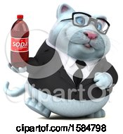 Clipart Of A 3d White Business Kitty Cat Holding A Soda On A White Background Royalty Free Illustration