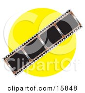 Negative Photo Film Strip Over A Yellow Background Clipart Illustration