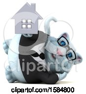 Clipart Of A 3d White Business Kitty Cat Holding A House On A White Background Royalty Free Illustration