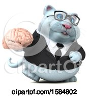 Clipart Of A 3d White Business Kitty Cat Holding A Brain On A White Background Royalty Free Illustration