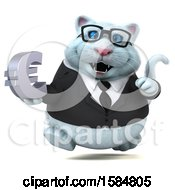 Clipart Of A 3d White Business Kitty Cat Holding A Euro On A White Background Royalty Free Illustration