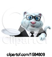 Clipart Of A 3d White Business Kitty Cat Holding A Plate On A White Background Royalty Free Illustration