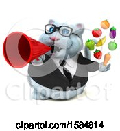 Clipart Of A 3d White Business Kitty Cat Holding Produce On A White Background Royalty Free Illustration