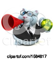 Clipart Of A 3d White Business Kitty Cat Holding A Globe On A White Background Royalty Free Illustration