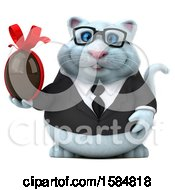 Clipart Of A 3d White Business Kitty Cat Holding A Chocolate Egg On A White Background Royalty Free Illustration