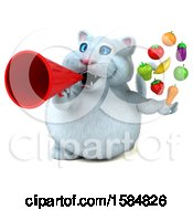 Clipart Of A 3d White Kitty Cat Holding Produce On A White Background Royalty Free Illustration