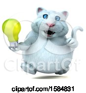 3d White Kitty Cat Holding A Light Bulb On A White Background