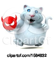 Clipart Of A 3d White Kitty Cat Holding A Devil On A White Background Royalty Free Illustration