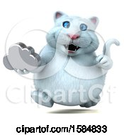 Clipart Of A 3d White Kitty Cat Holding A Cloud On A White Background Royalty Free Illustration