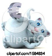 Clipart Of A 3d White Kitty Cat Holding A Euro On A White Background Royalty Free Illustration