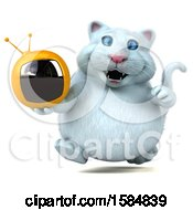 Clipart Of A 3d White Kitty Cat Holding A Tv On A White Background Royalty Free Illustration