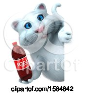 Clipart Of A 3d White Kitty Cat Holding A Soda On A White Background Royalty Free Illustration