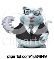 Clipart Of A 3d White Business Kitty Cat Holding A Euro On A White Background Royalty Free Vector Illustration