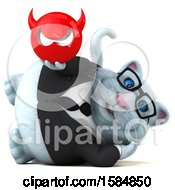 Clipart Of A 3d White Business Kitty Cat Holding A Devil On A White Background Royalty Free Vector Illustration