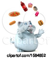 Clipart Of A 3d White Kitty Cat Juggling Junk Food On A White Background Royalty Free Vector Illustration