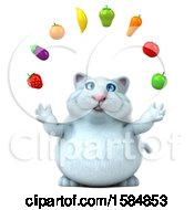 Clipart Of A 3d White Kitty Cat Juggling Produce On A White Background Royalty Free Vector Illustration