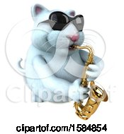 Clipart Of A 3d White Kitty Cat Playing A Saxophone On A White Background Royalty Free Vector Illustration