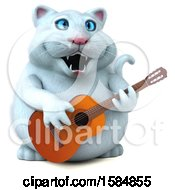 Clipart Of A 3d White Kitty Cat Playing A Guitar On A White Background Royalty Free Vector Illustration