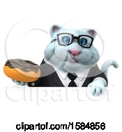 Clipart Of A 3d White Business Kitty Cat Holding A Donut On A White Background Royalty Free Vector Illustration