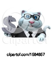 Clipart Of A 3d White Business Kitty Cat Holding A Dollar Sign On A White Background Royalty Free Vector Illustration