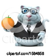 Clipart Of A 3d White Business Kitty Cat Holding An Orange On A White Background Royalty Free Vector Illustration