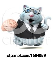 Clipart Of A 3d White Business Kitty Cat Holding A Brain On A White Background Royalty Free Vector Illustration