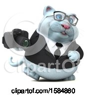 Clipart Of A 3d White Business Kitty Cat Holding A Camera On A White Background Royalty Free Vector Illustration