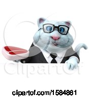 Clipart Of A 3d White Business Kitty Cat Holding A Steak On A White Background Royalty Free Vector Illustration