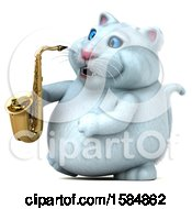 Clipart Of A 3d White Kitty Cat Holding A Saxophone On A White Background Royalty Free Vector Illustration