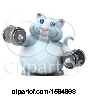 Clipart Of A 3d White Kitty Cat Working Out With Dumbbells On A White Background Royalty Free Vector Illustration
