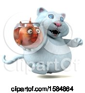 Clipart Of A 3d White Kitty Cat Holding A Fish Bowl On A White Background Royalty Free Vector Illustration