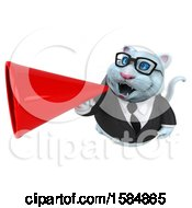 Clipart Of A 3d White Business Kitty Cat Holding A Megaphone On A White Background Royalty Free Vector Illustration