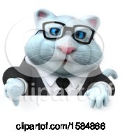 Clipart Of A 3d White Business Kitty Cat Holding A Thumb Down On A White Background Royalty Free Vector Illustration