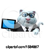 Clipart Of A 3d White Business Kitty Cat Holding A Tablet On A White Background Royalty Free Vector Illustration