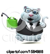 Clipart Of A 3d White Business Kitty Cat Holding A Gas Can On A White Background Royalty Free Vector Illustration