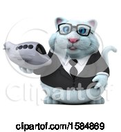 Clipart Of A 3d White Business Kitty Cat Holding A Plane On A White Background Royalty Free Vector Illustration